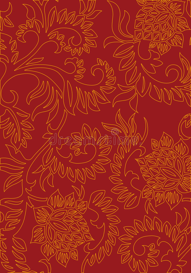 Abstract floral decorative background on red color, vector illus vector illustration