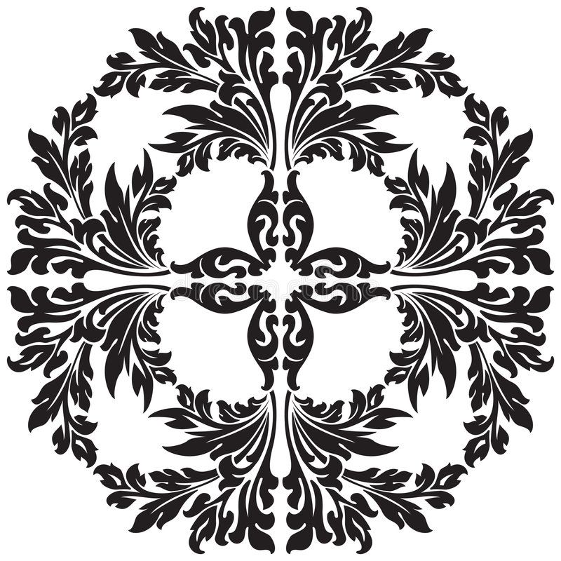 abstract floral decorative element in black color vector illustration stock illustration