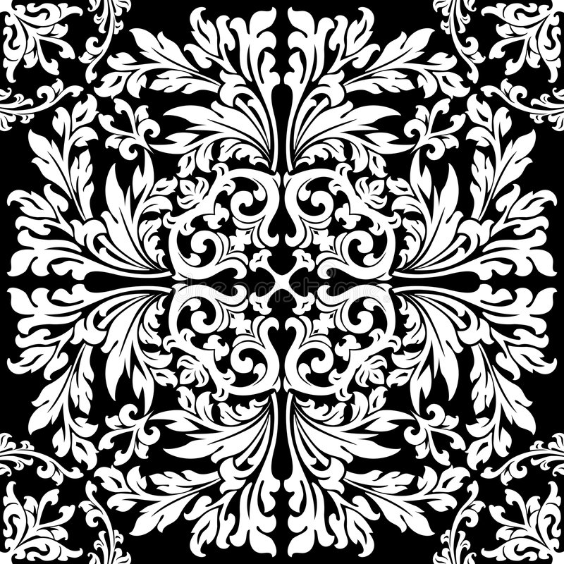 abstract floral decorative element in black color vector illustration royalty free illustration