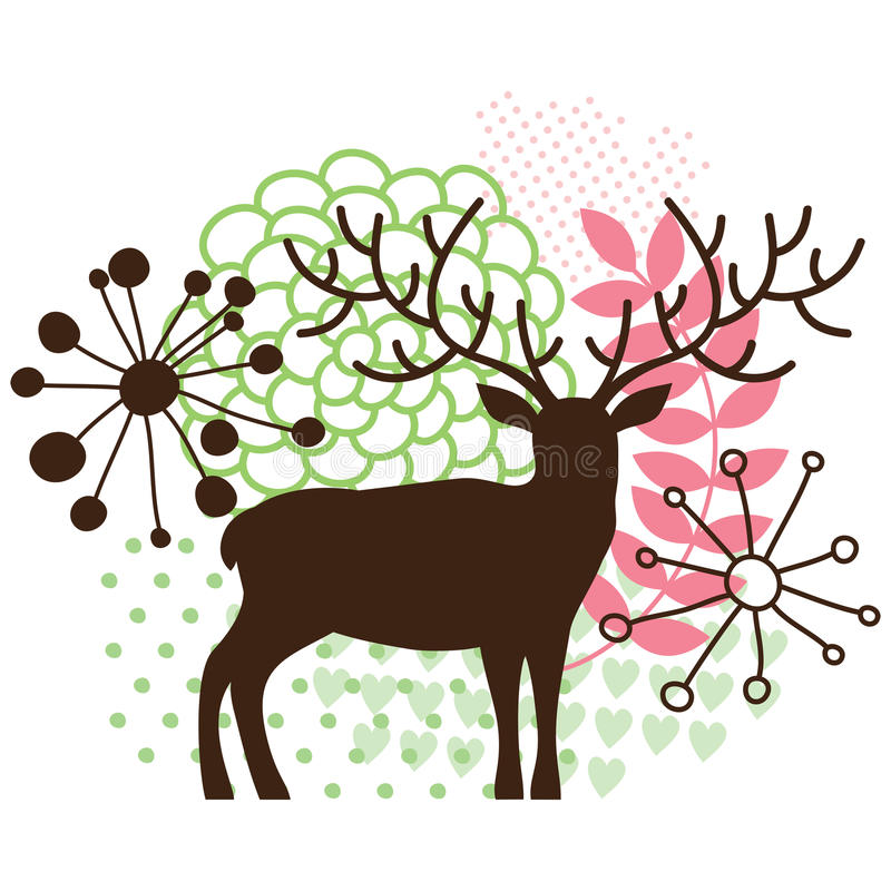 Abstract floral deer royalty free illustration