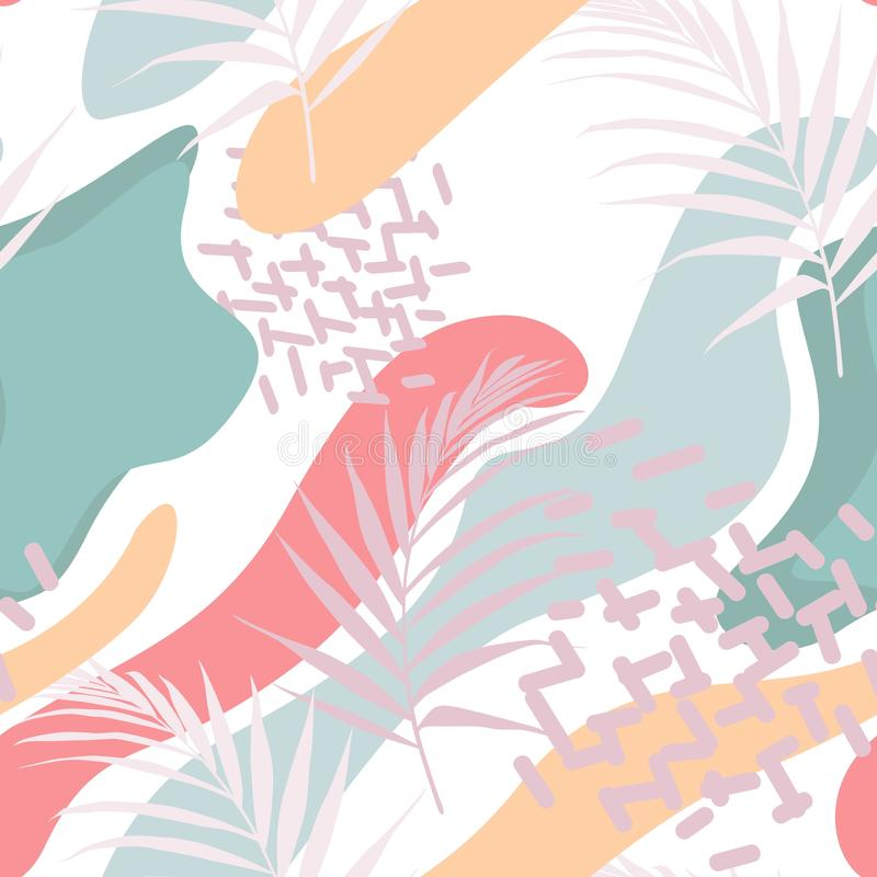 Abstract floral element, paper collage. Vector hand drawn illustration. stock illustration
