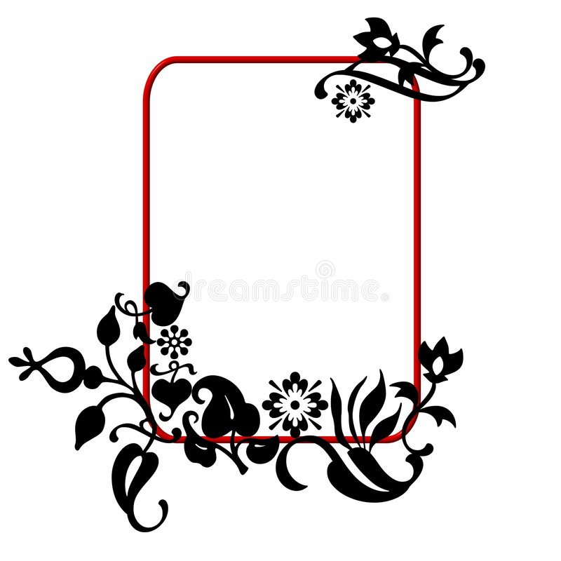 Abstract floral frame. An illustrated frame or border with black artistic floral designs vector illustration