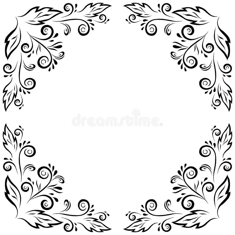 Download Abstract Floral Frame, Black Contour Stock Vector - Image: 34246527