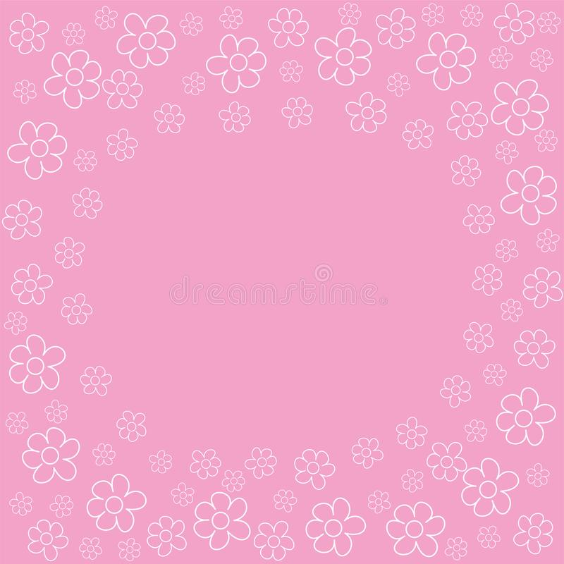 Abstract Floral Frame On A Pink Background. For Prints, Greeting ...