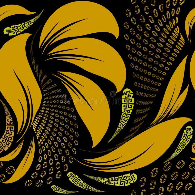Abstract floral greek vector seamless pattern. Modern geometric. Halftone background. Vintage ornate flowers, leaves, half tone shapes, paisleys. Greek key stock illustration