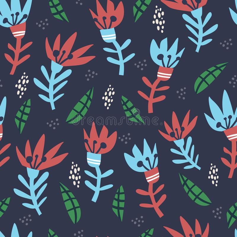 Abstract floral hand drawn seamless pattern stock illustration