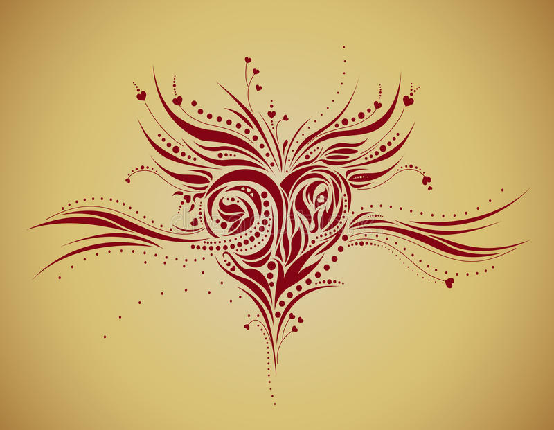 Abstract floral heart shape - grunge style royalty free illustration