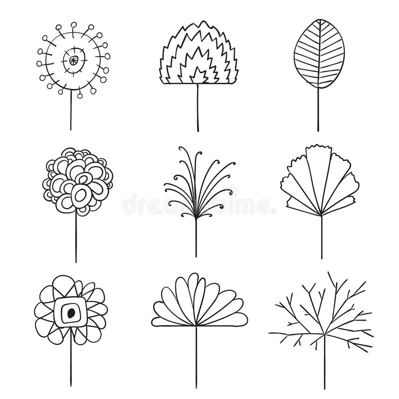 Download abstract floral line drawing design elements stock illustration illustration of ornaments petal