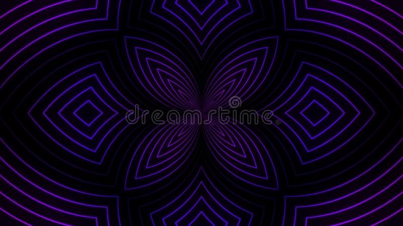 Abstract floral pattern of neon lines. Animation. Beautiful centralized pattern of flower of pulsing lines of neon. Colors on black background stock illustration