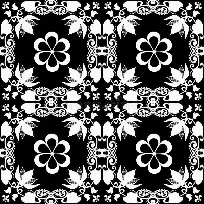 Abstract floral pattern texture on black