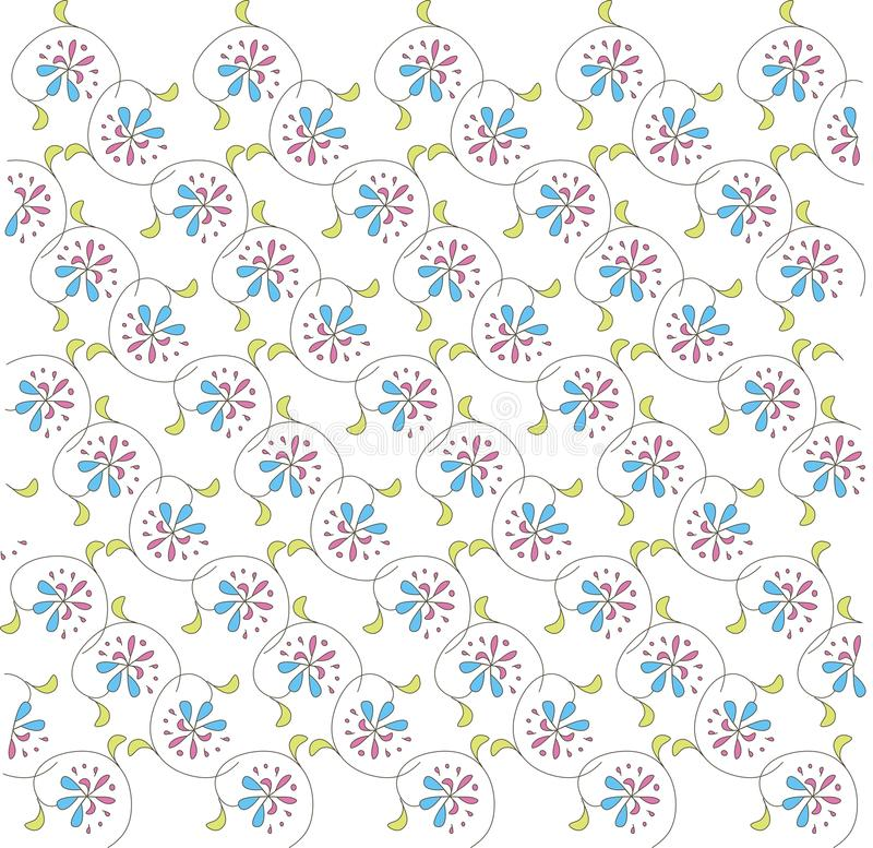 Abstract floral pattern on white, diagonal lines. Pink, blue flowers, green leaves, black contours, spring, summer royalty free illustration