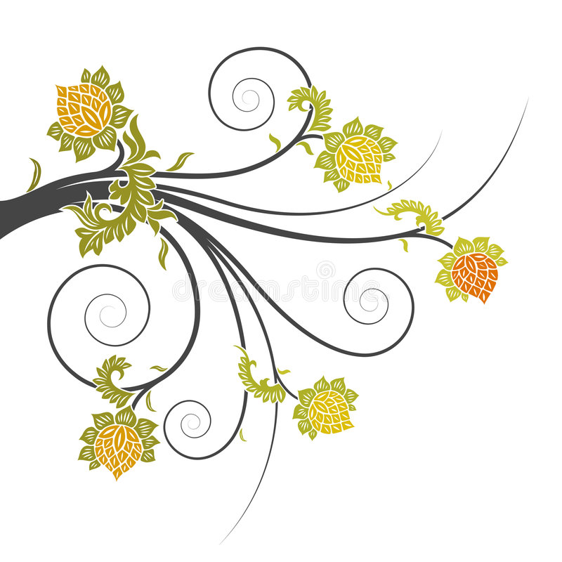 Abstract floral scrolls vector illustration