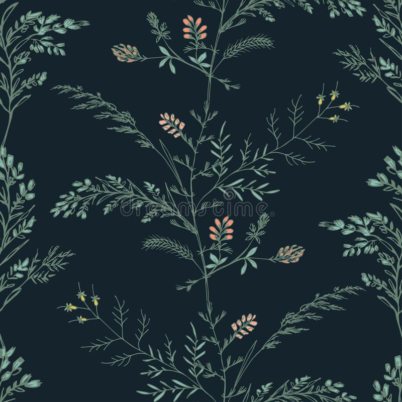Abstract floral seamless pattern on dark background stock photo