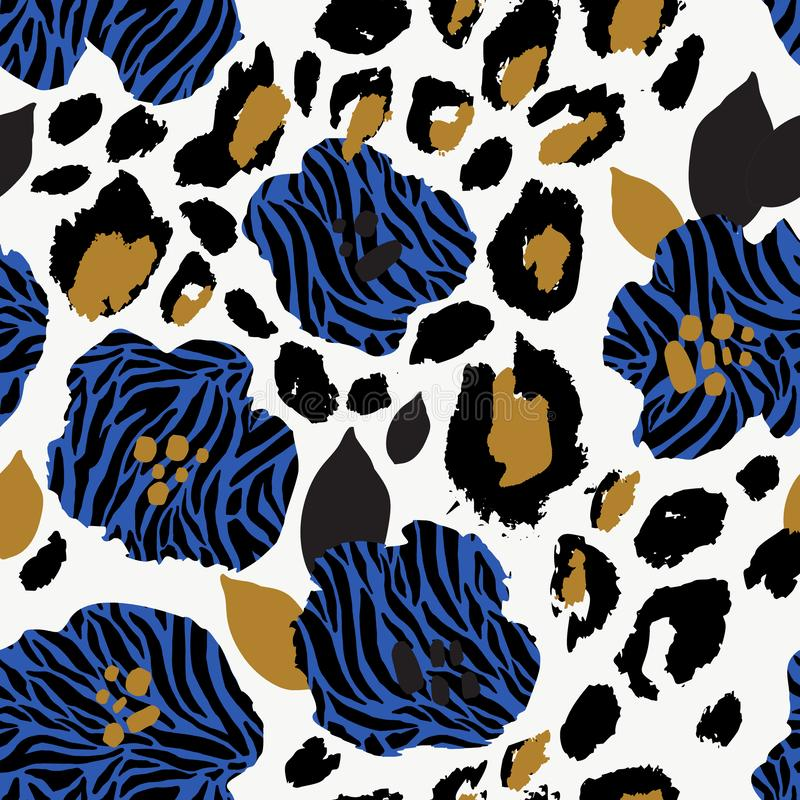 Free Abstract Floral Seamless Pattern: Flowers With Zebra Stripes, Leopard Skin Print Royalty Free Stock Images - 153862529