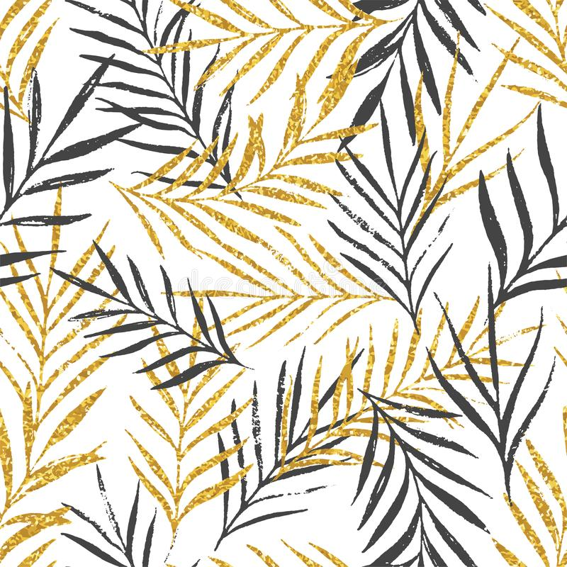 Abstract floral seamless pattern with palm leaves, trendy gold glitter texture royalty free illustration