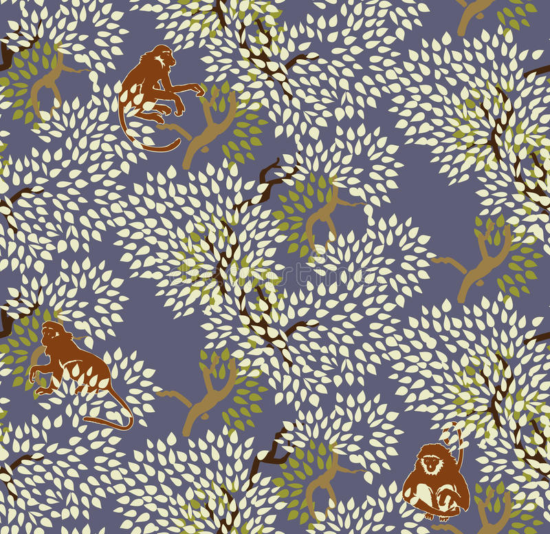 Abstract floral seamless pattern. Trees and monkeys. Exotic fore. St motif background vector illustration