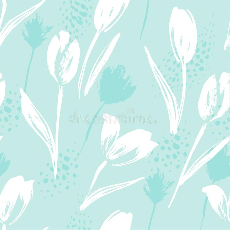 Abstract floral seamless pattern tulips .Trendy hand drawn textures. Modern abstract design for,paper, cover, fabric and other users stock illustration