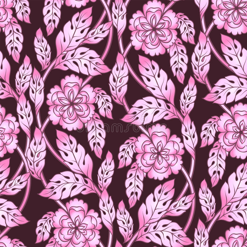 Abstract floral seamless pattern. Vector flower 3d blossoms, branches and leaves. Elements for design in pink colors. vector illustration