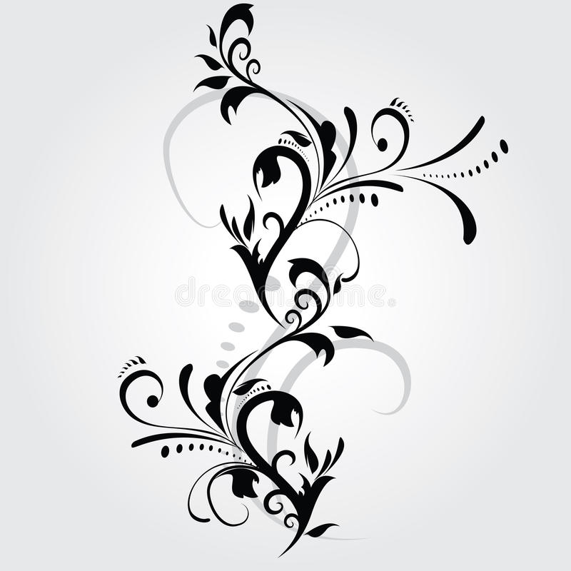 Abstract floral silhouette royalty free illustration