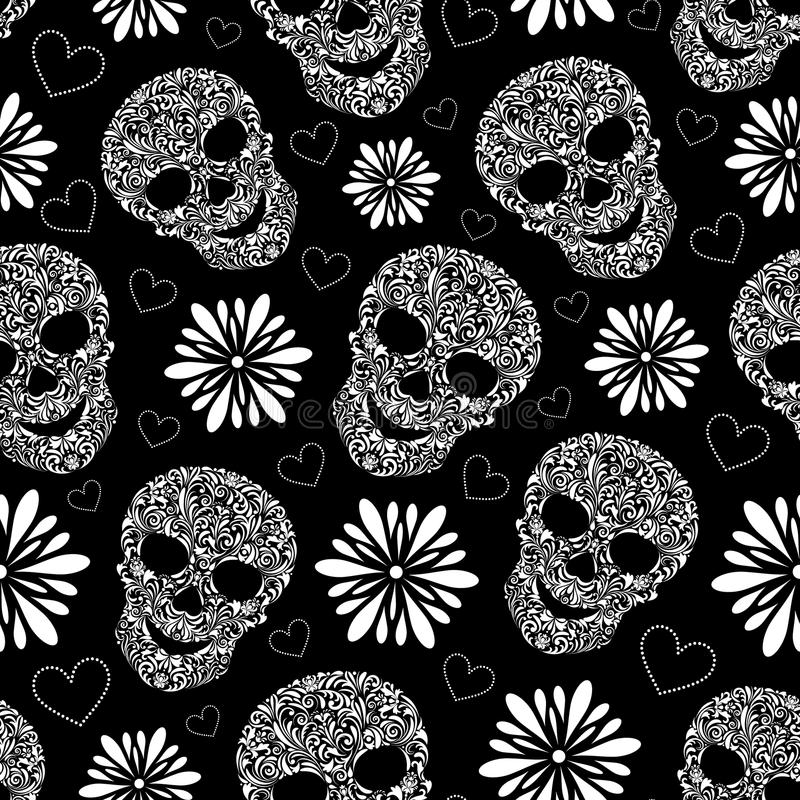 Abstract floral skulls vector illustration