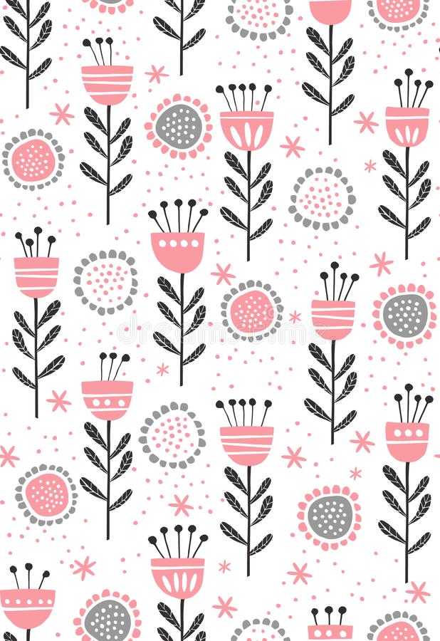 Abstract Floral Vector Pattern. Cute Pink and Grey Flowers and Twigs. Infantile Design on a White Background. Abstract pink and black flowers and twigs isolated vector illustration