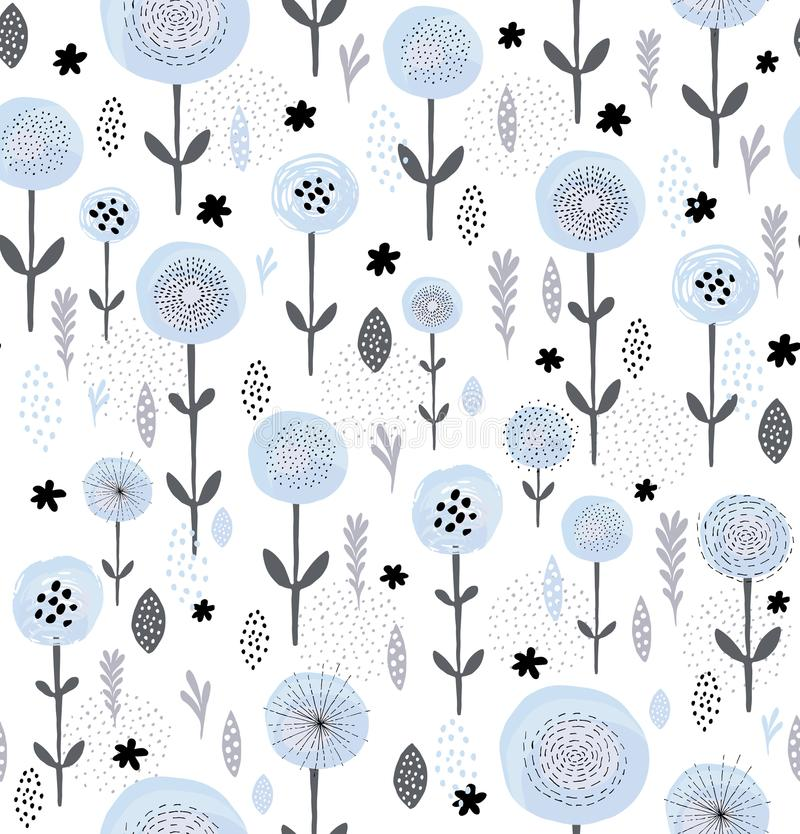Abstract Floral Vector Pattern. Round Brushed Blue Flowers With Black Elements. Black and Grey Branches, Leaves and Twigs. White B. Blue flowers among gray twigs royalty free illustration