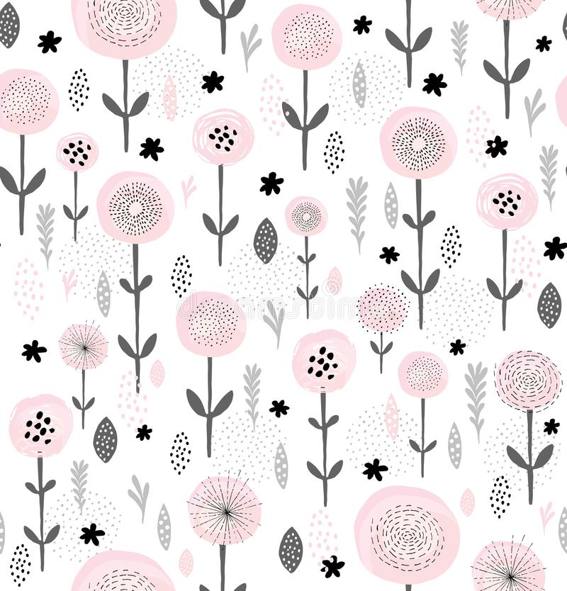 Abstract Floral Vector Pattern. Round Brushed Pink Flowers With Black Elements. Black and Grey Branches, Leaves and Twigs. Pink flowers among gray twigs and royalty free illustration