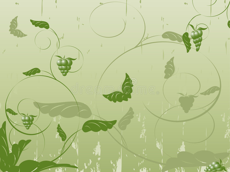 Abstract floral vector with plants, butterflies. Over scratched background vector illustration