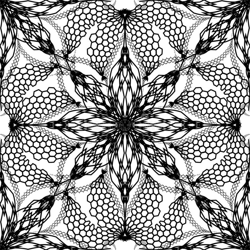 Abstract floral vector seamless pattern. Black and white creative modern background. Repeat monochrome geometric vector illustration