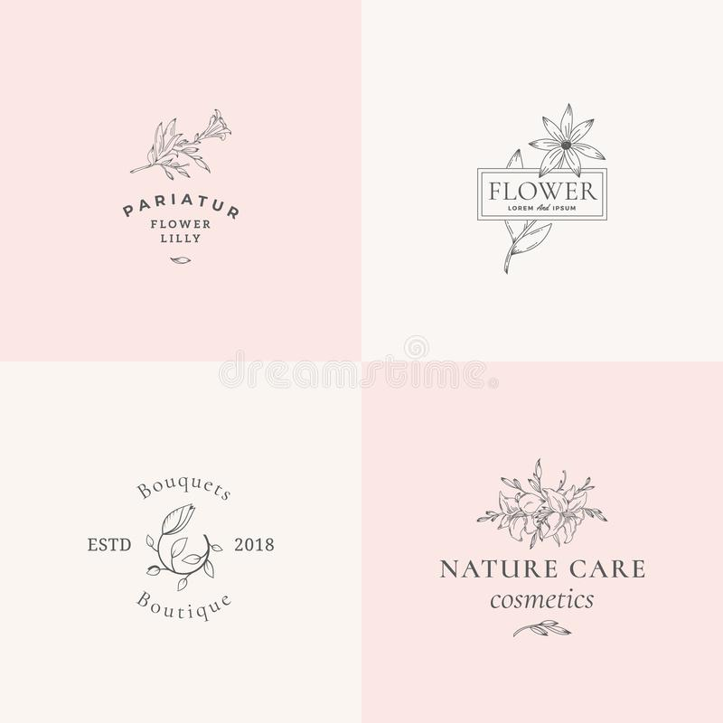 Abstract Floral Vector Signs or Logo Templates Set. Retro Feminine Illustration with Classy Typography. Premium Flower. Emblems for Beauty Salon, SPA, Wedding vector illustration