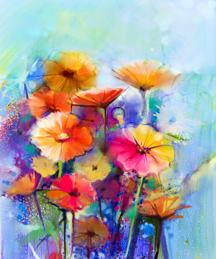 Free Abstract Floral Watercolor Painting Stock Images - 70055084