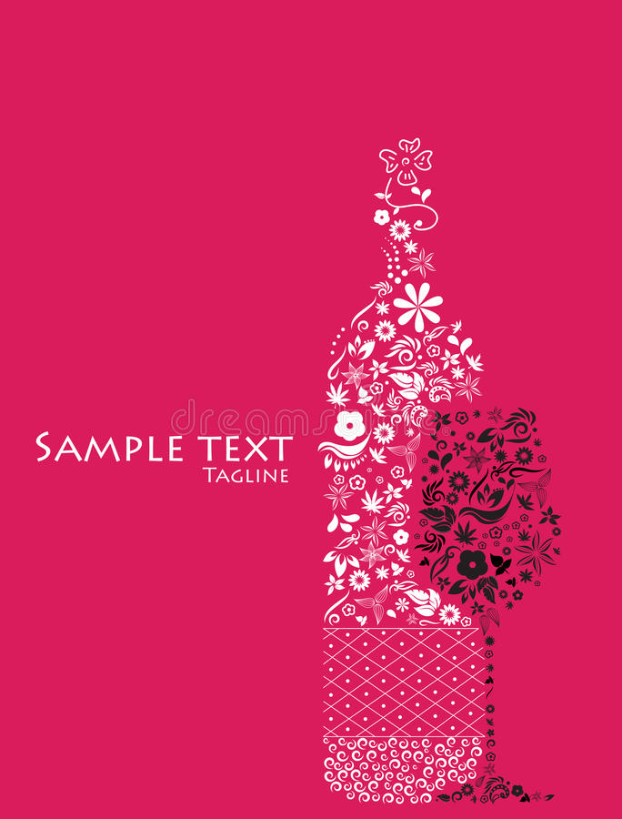 Download Abstract Floral Wine Bottle And Glass. Stock Vector - Image: 25471939