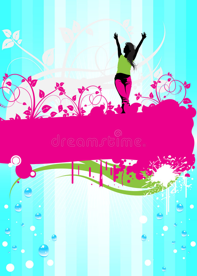 Abstract floral with woman. Abstract pink floral frame with young woman and shine background vector illustration