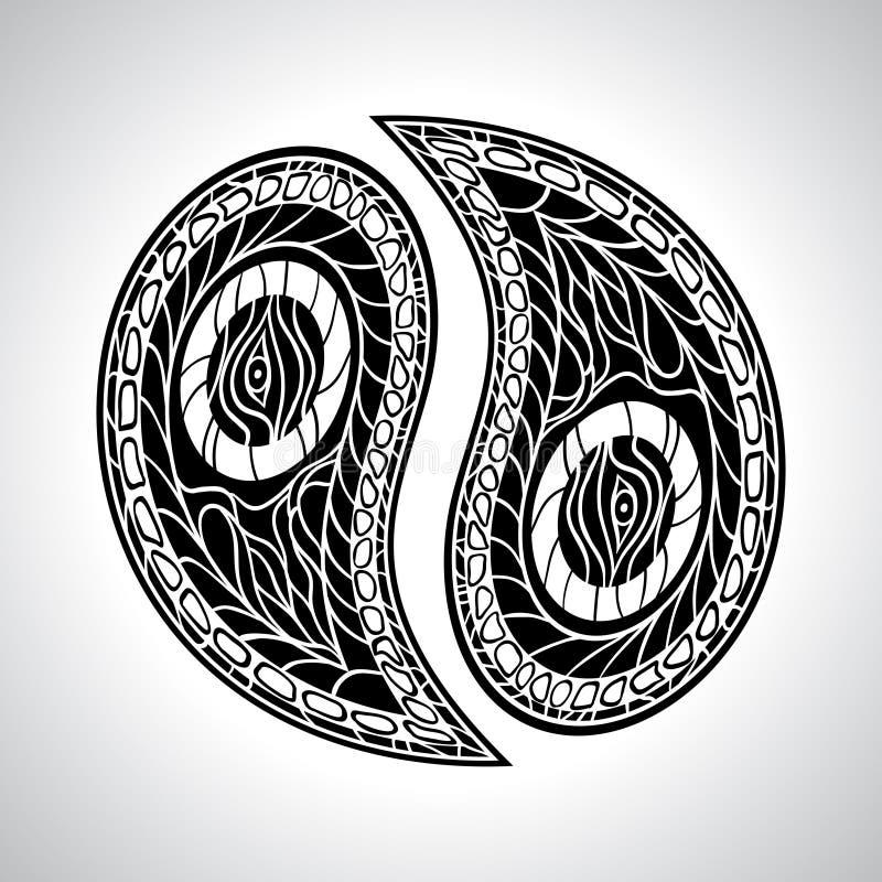 Abstract floral Yin Yang Symbol vector vector illustration