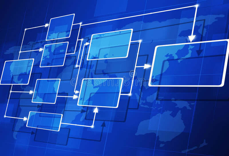 Abstract Flow Chart. Abstract 3D flow chart on the map blue background stock illustration