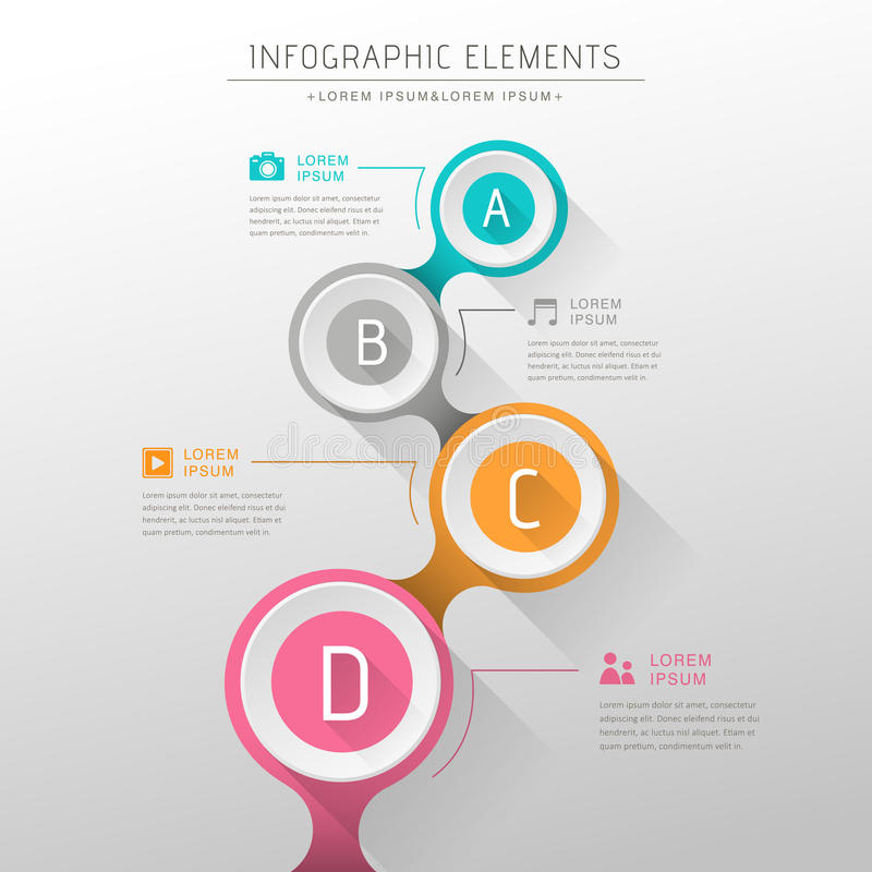 Abstract flow chart infographics. Flat design vector abstract flow chart infographic elements vector illustration