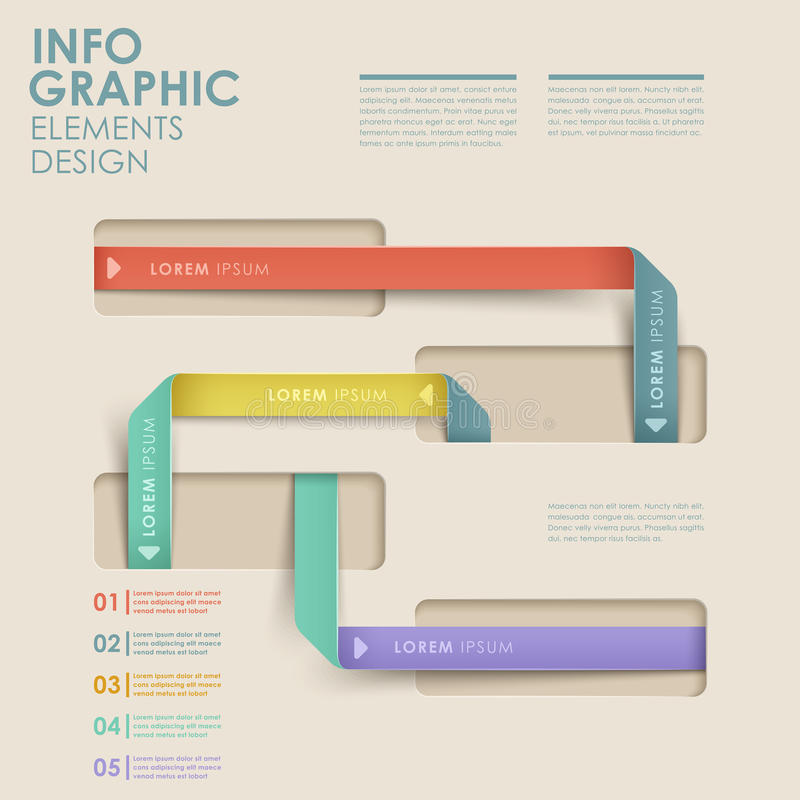 Abstract flow chart infographics. Modern vector abstract flow chart infographic elements royalty free illustration