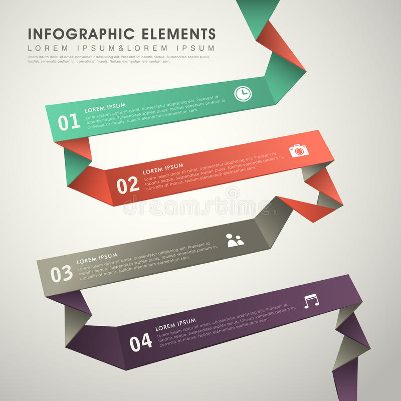 Abstract flow chart infographics. Modern vector abstract origami flow chart infographic elements royalty free illustration