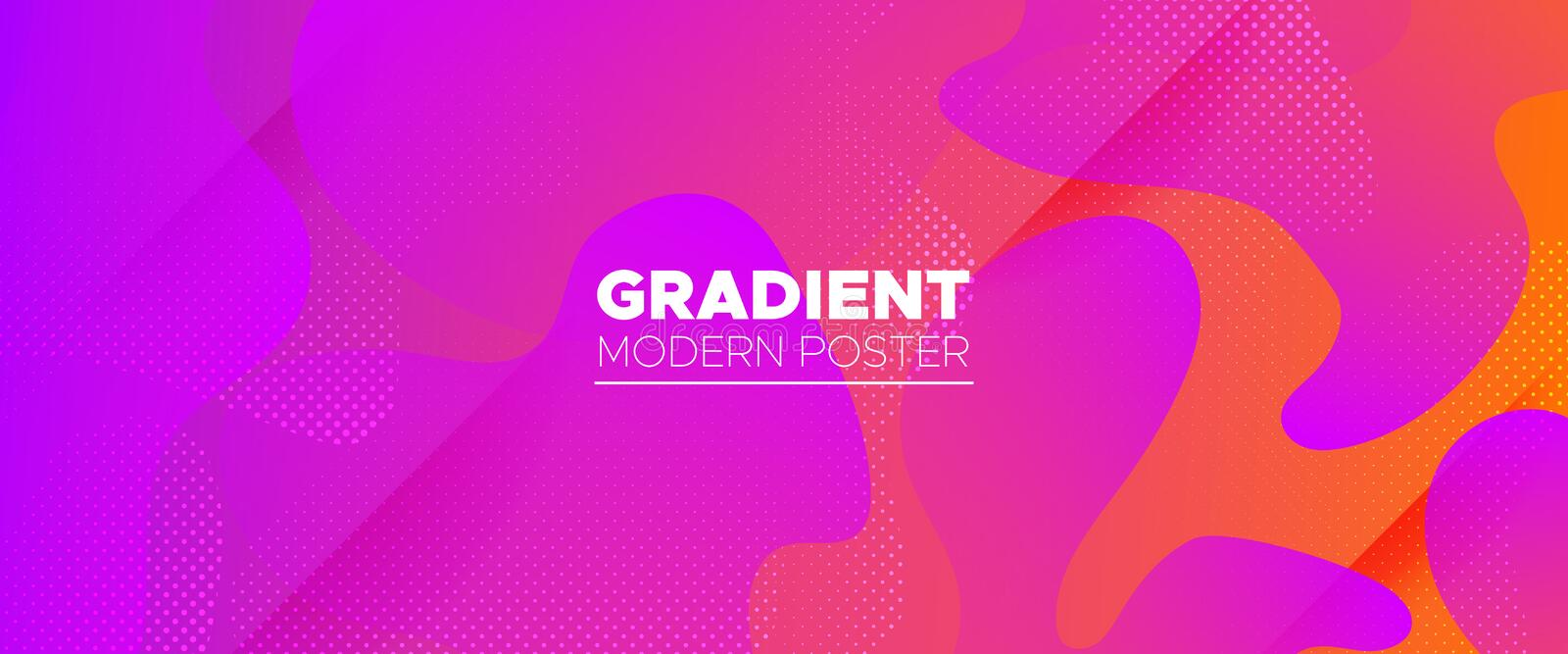 Abstract Flow Design. Neon Gradient Brochure. Orange Graphic Wallpaper. Futuristic Concept. Abstract Wave Shapes. Gradient Poster. Graphic Movement. Digital stock illustration