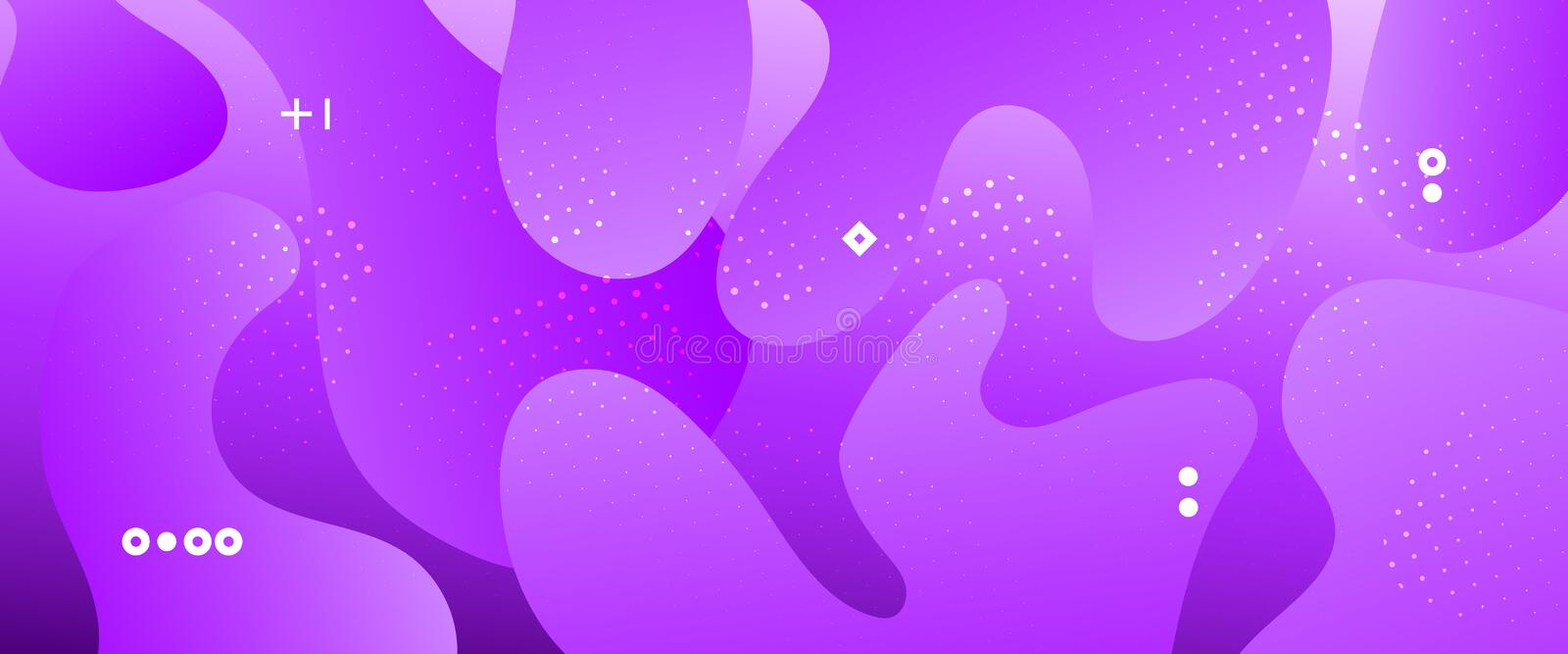 Abstract Flow Design. Neon Minimal Brochure. Dotted Graphic Wallpaper. Futuristic Concept. Abstract Wave Shapes. Gradient Poster. Light Vector Illustration royalty free illustration