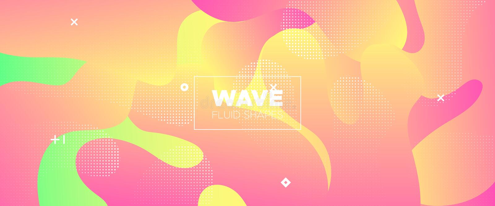 Abstract Flow Design. Vivid Gradient Brochure. Dotted Graphic Movement. Digital Template. Abstract Fluid Pattern. Minimal Poster. Vector Illustration royalty free illustration