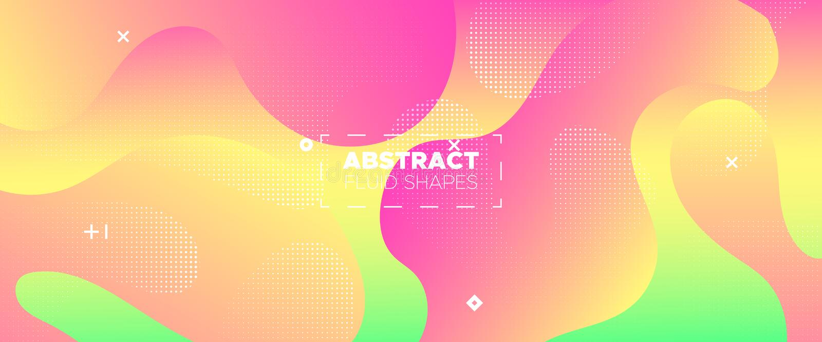 Abstract Flow Design. Vivid Minimal Brochure. Bright Graphic Wallpaper. Futuristic Concept. 3d Fluid Background. Gradient Poster. Vector Illustration stock illustration
