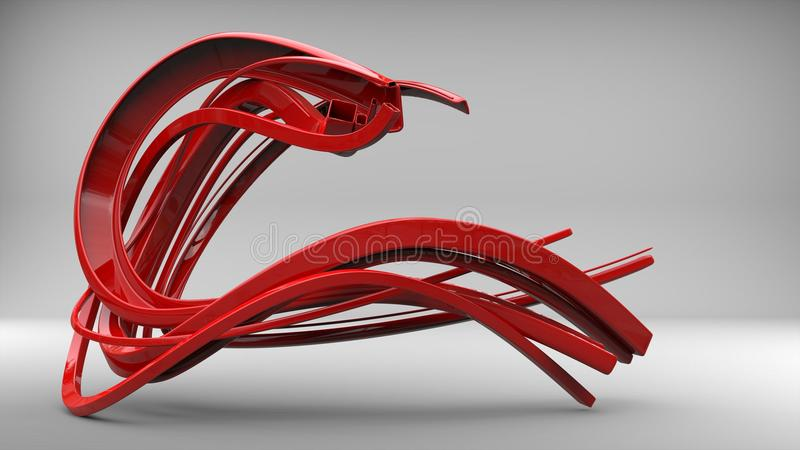 Abstract flow sculpture - shiny red. In studio stock illustration