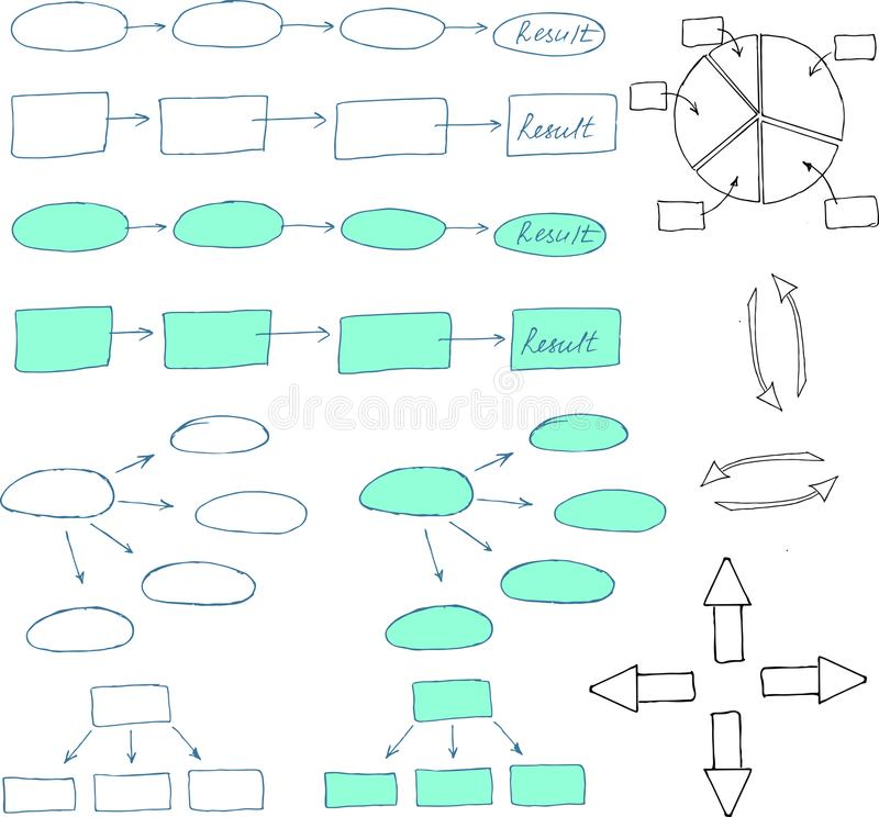 Abstract flowchart vector design elements. Arrows. royalty free illustration