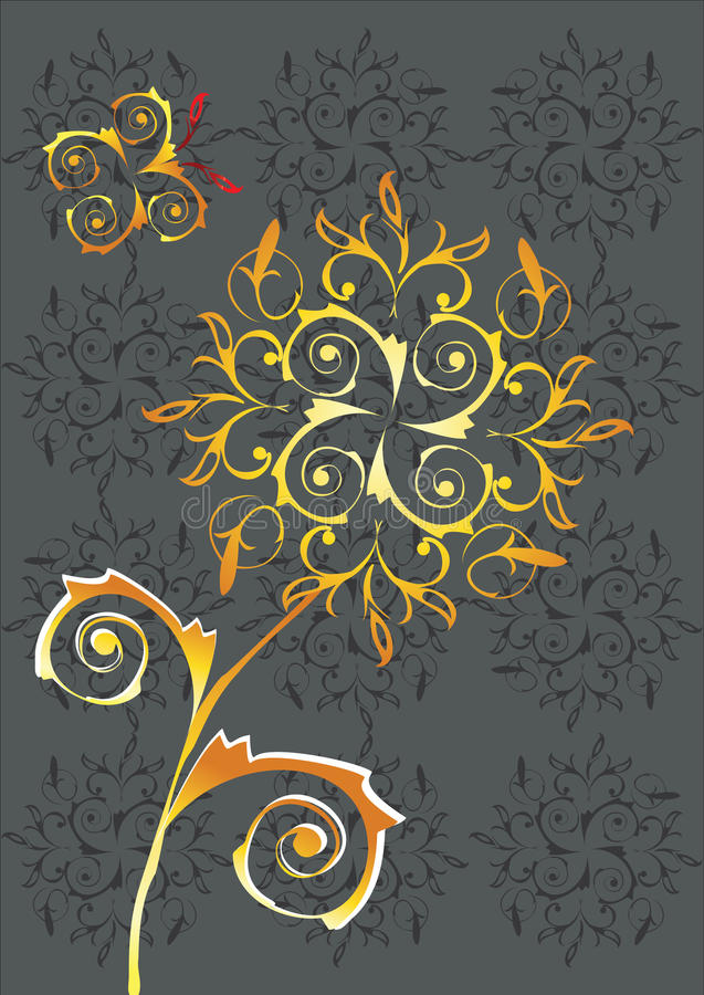 Download Abstract Flower And Butterfly Stock Vector - Image: 25944005