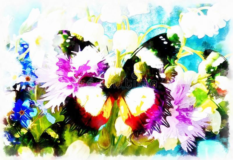 Abstract Flower with butterfly, computer collage painting. Abstract Flower with butterfly, computer collage painting royalty free illustration