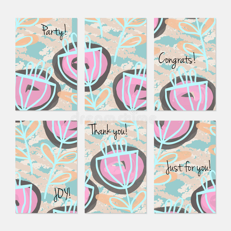 Abstract flower on crayon brush. Hand drawn creative invitation or greeting cards template. Anniversary, Birthday, wedding, party, social media banners set of 6 royalty free illustration