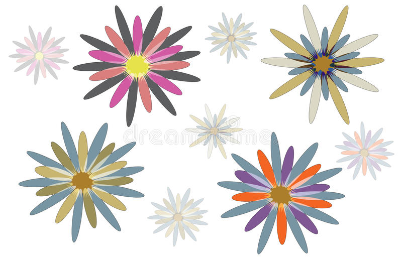 Abstract flower designs. Four multicoloured abstract flowers with smaller flowers in distance on white background vector illustration