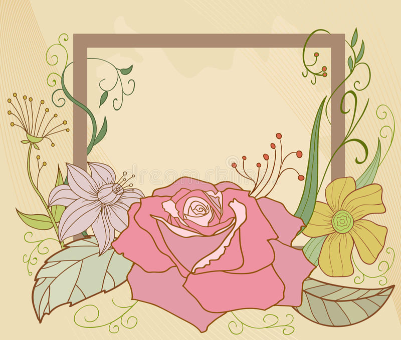 Abstract Flower Frame stock illustration