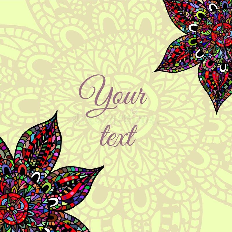 Abstract flower frame. Template flower design for postcard stock illustration
